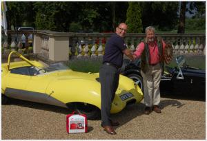 Paul Caller presenting the Autoglym Shield to Edward Stephens for the restoration of his 1958 Lotus Eleven Le Mans